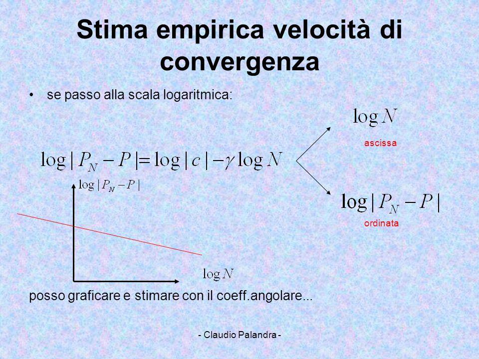 - Claudio Palandra - Stima empirica velocità di convergenza se passo alla scala logaritmica: ascissa ordinata posso graficare e stimare con il coeff.a