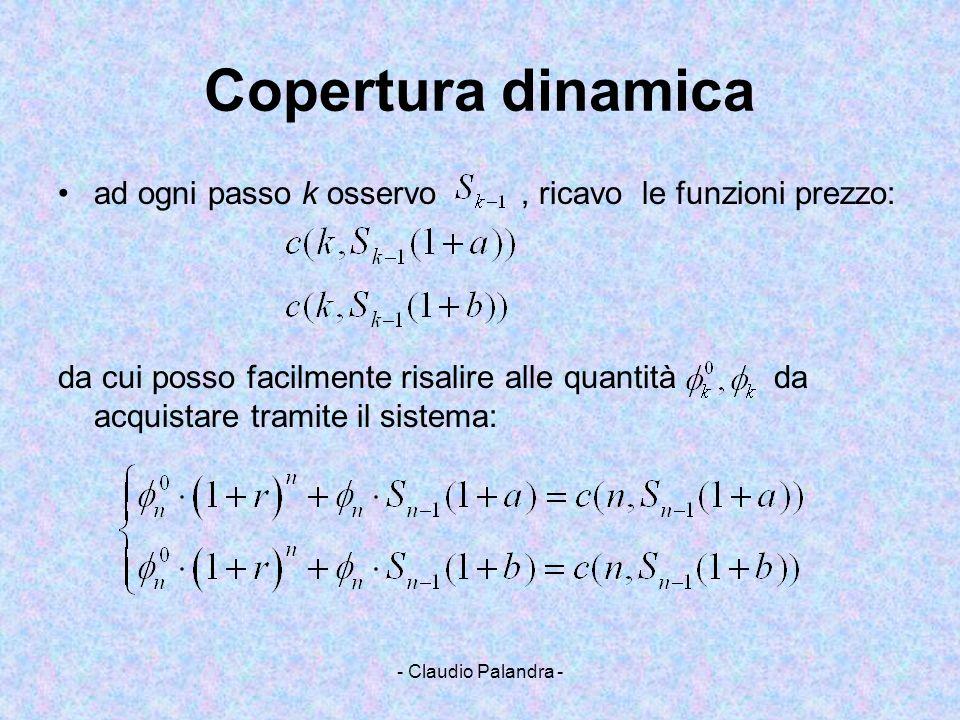 - Claudio Palandra - Copertura dinamica ad ogni passo k osservo, ricavo le funzioni prezzo: da cui posso facilmente risalire alle quantità da acquista