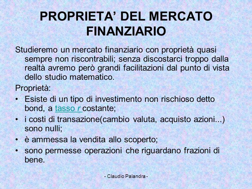 - Claudio Palandra - PROPRIETA DEL MERCATO FINANZIARIO Studieremo un mercato finanziario con proprietà quasi sempre non riscontrabili; senza discostar