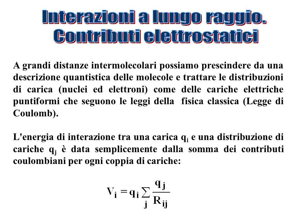 A grandi distanze intermolecolari possiamo prescindere da una descrizione quantistica delle molecole e trattare le distribuzioni di carica (nuclei ed elettroni) come delle cariche elettriche puntiformi che seguono le leggi della fisica classica (Legge di Coulomb).