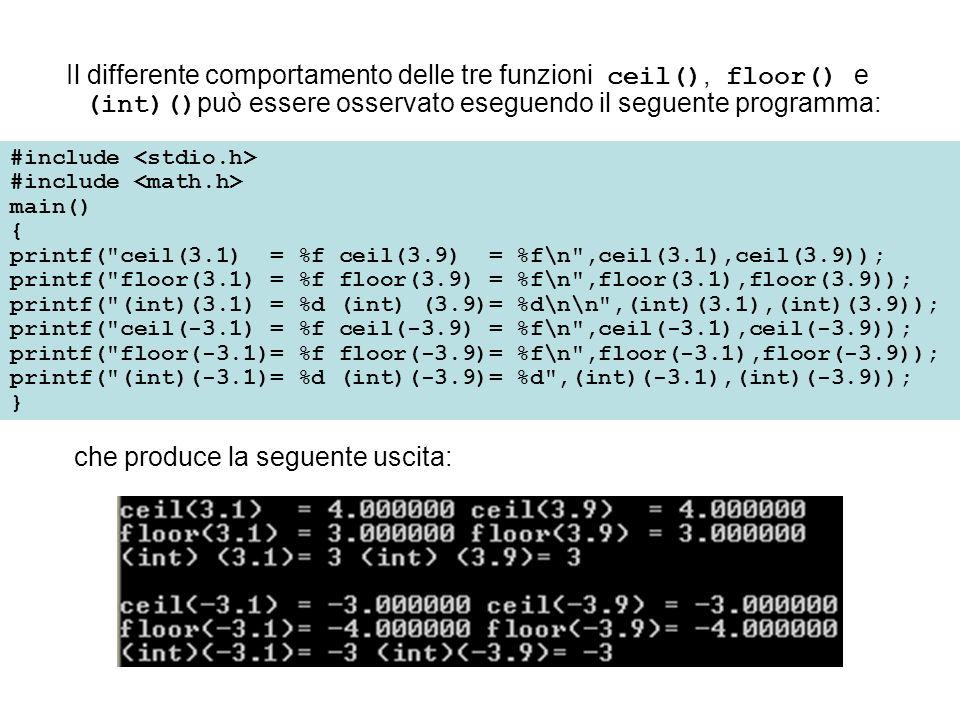 Come con tutte le funzioni C, gli argomenti passati a una funzione di biblioteca matematica non devono essere necessariamente numeri, ma possono anche essere espressioni, come nei seguenti esempi: sqrt(4.0 + 7*3) abs(-24 % 3 + 6) pow(p * q, 5.0) Anche ora vengono dapprima valutate le espressioni in parentesi, quindi vengono forniti i risultati.