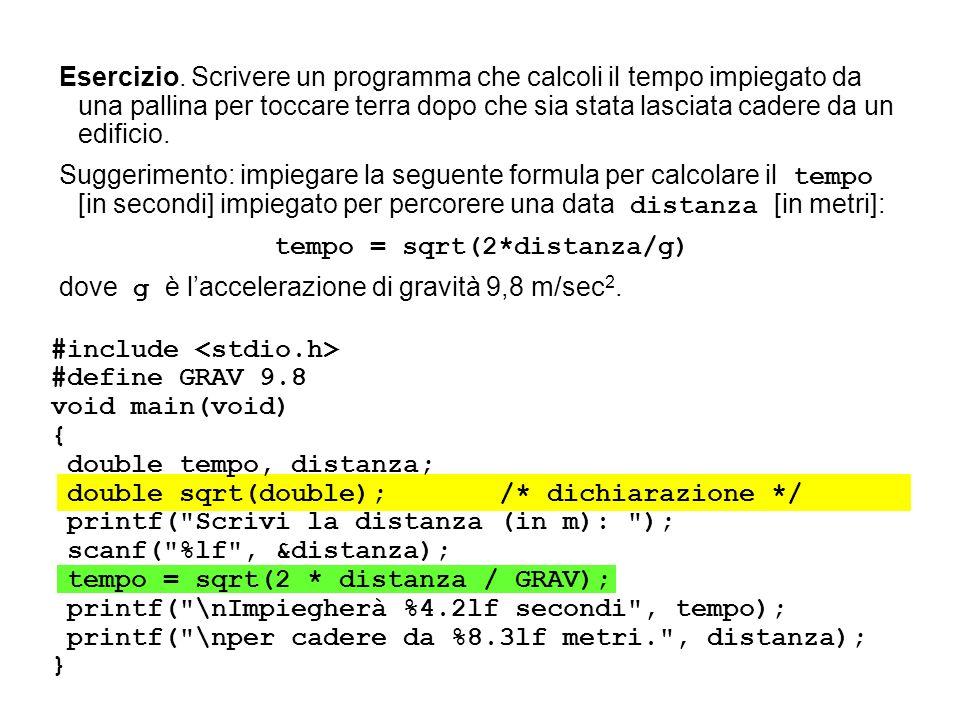 #include int main() { int i; unsigned seme; printf(Scrivi il seme: ); scanf(%u, &seme); srand(seme); for (i = 1; i <= 20; i++) { printf( %10d ,(rand()%6)+ 1); if (i % 5 == 0) { printf( \n ); } #include int main() { int i; for (i=1; i<=20; i++) { printf( %10d , (rand()%6)+1); if (i % 5 == 0) { printf( \n ); }