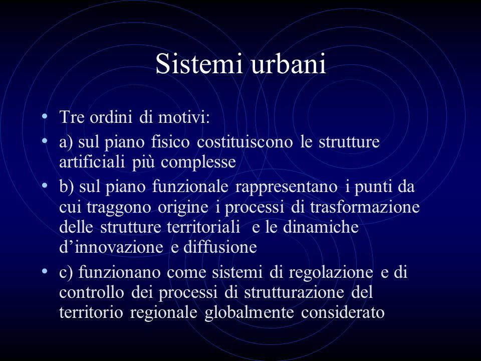 Sistemi urbani Tre ordini di motivi: a) sul piano fisico costituiscono le strutture artificiali più complesse b) sul piano funzionale rappresentano i