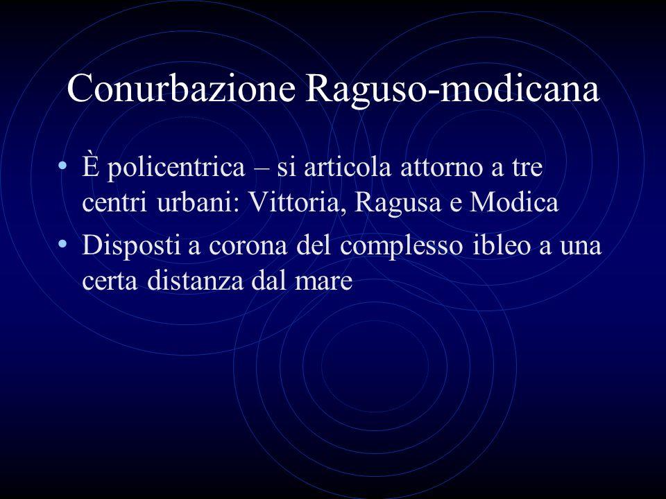 Conurbazione Raguso-modicana È policentrica – si articola attorno a tre centri urbani: Vittoria, Ragusa e Modica Disposti a corona del complesso ibleo a una certa distanza dal mare