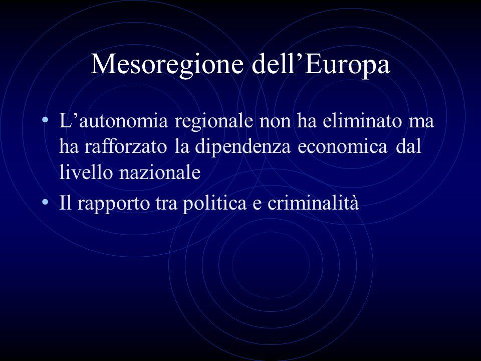 Mesoregione dellEuropa Lautonomia regionale non ha eliminato ma ha rafforzato la dipendenza economica dal livello nazionale Il rapporto tra politica e criminalità