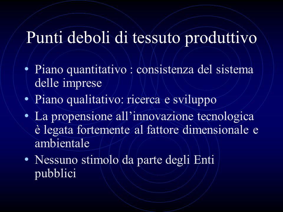 Punti deboli di tessuto produttivo Piano quantitativo : consistenza del sistema delle imprese Piano qualitativo: ricerca e sviluppo La propensione all