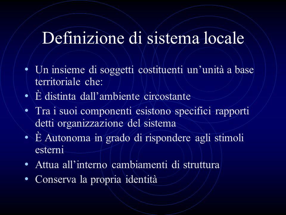 Definizione di sistema locale Un insieme di soggetti costituenti ununità a base territoriale che: È distinta dallambiente circostante Tra i suoi compo