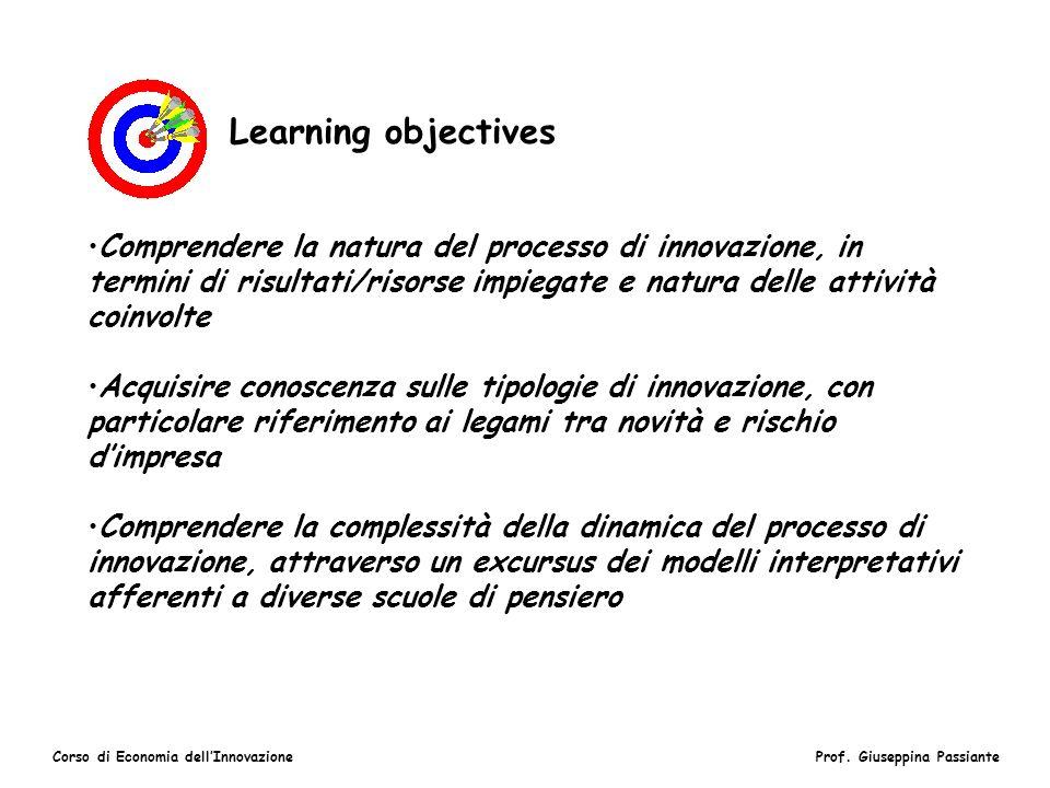 Corso di Economia dellInnovazioneProf. Giuseppina Passiante Learning objectives Comprendere la natura del processo di innovazione, in termini di risul