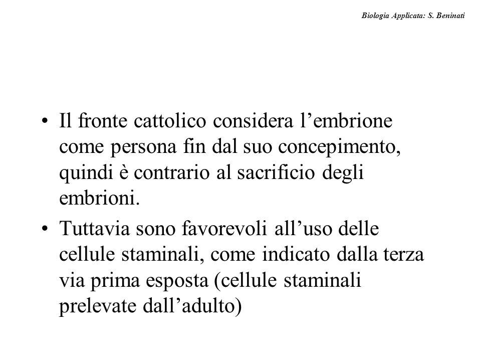 Biologia Applicata: S. Beninati Il fronte cattolico considera lembrione come persona fin dal suo concepimento, quindi è contrario al sacrificio degli