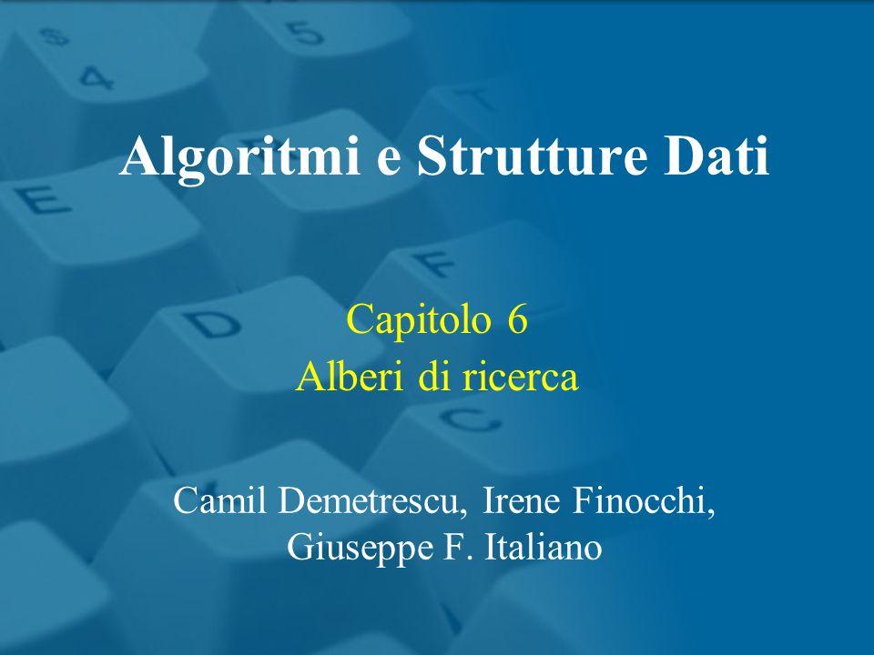 Capitolo 6 Alberi di ricerca Algoritmi e Strutture Dati Camil Demetrescu, Irene Finocchi, Giuseppe F. Italiano