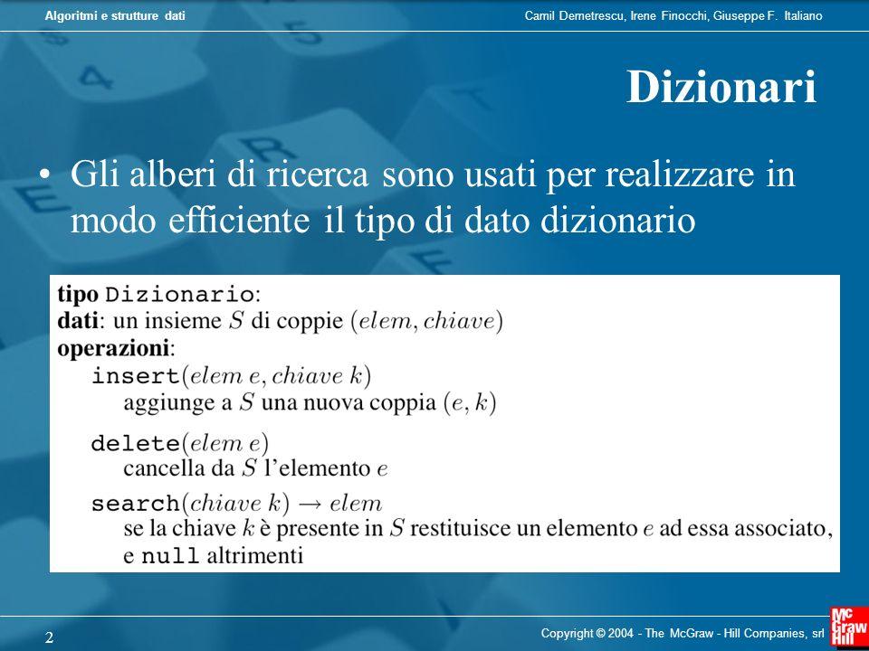 Algoritmi e strutture dati Copyright © 2004 - The McGraw - Hill Companies, srl 2 Dizionari Gli alberi di ricerca sono usati per realizzare in modo eff