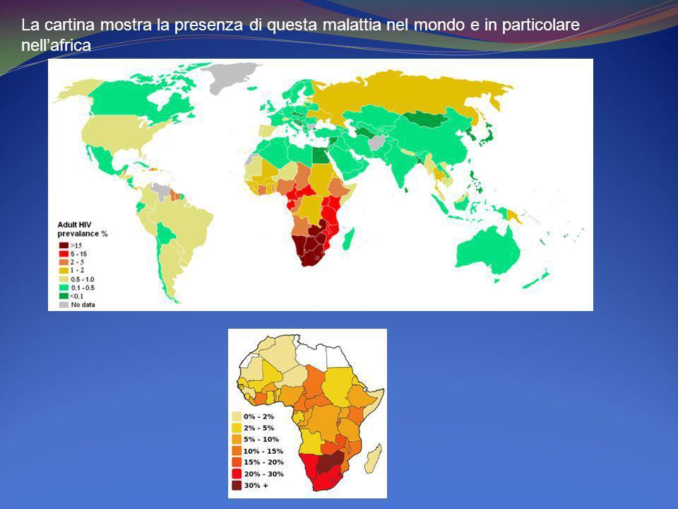 La cartina mostra la presenza di questa malattia nel mondo e in particolare nellafrica