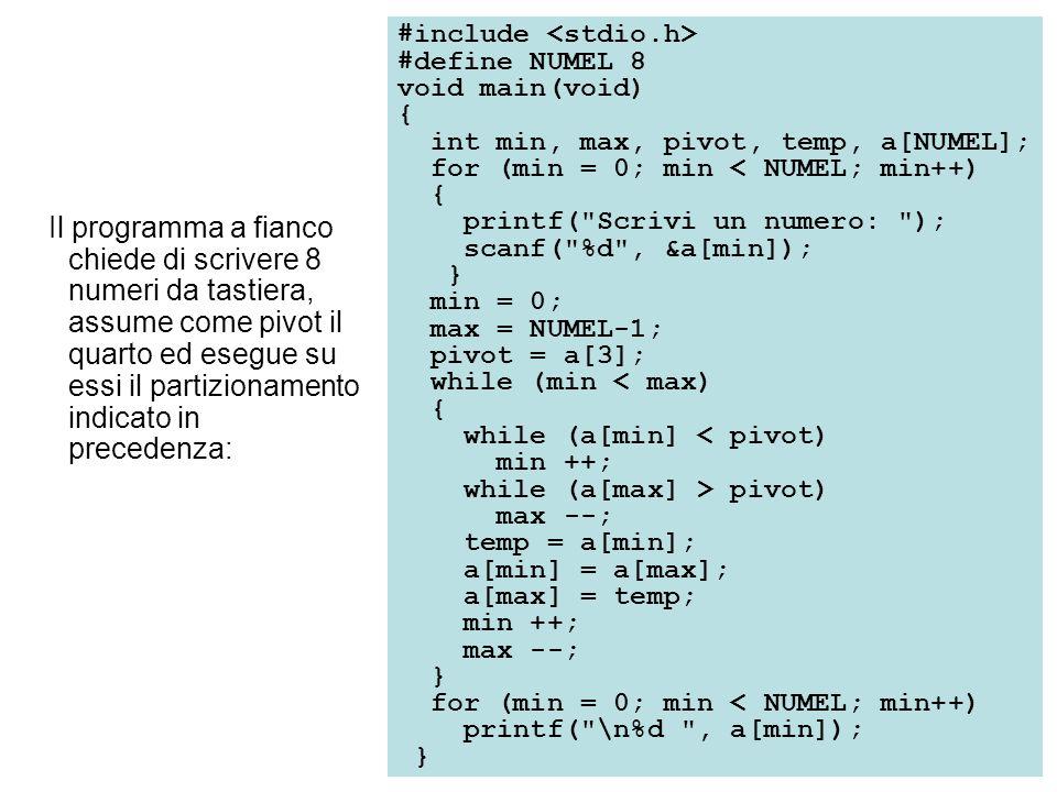 Il programma a fianco chiede di scrivere 8 numeri da tastiera, assume come pivot il quarto ed esegue su essi il partizionamento indicato in precedenza