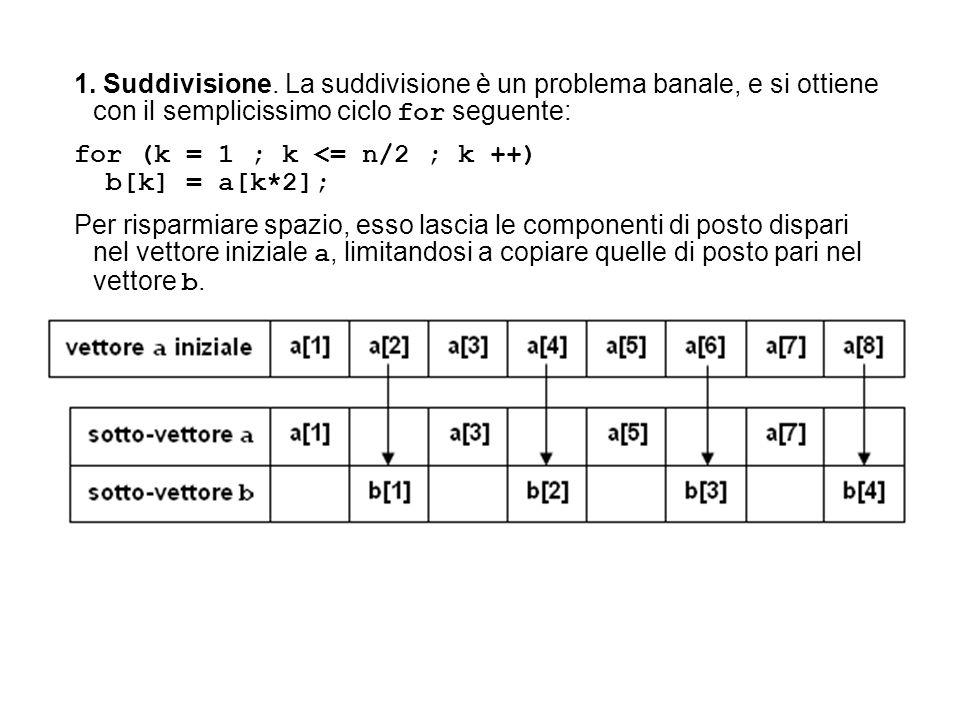 1. Suddivisione. La suddivisione è un problema banale, e si ottiene con il semplicissimo ciclo for seguente: for (k = 1 ; k <= n/2 ; k ++) b[k] = a[k*