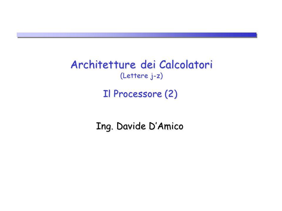 Architetture dei Calcolatori (Lettere j-z) Il Processore (2) Ing. Davide DAmico