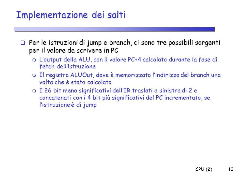 CPU (2)10 Implementazione dei salti Per le istruzioni di jump e branch, ci sono tre possibili sorgenti per il valore da scrivere in PC Per le istruzio