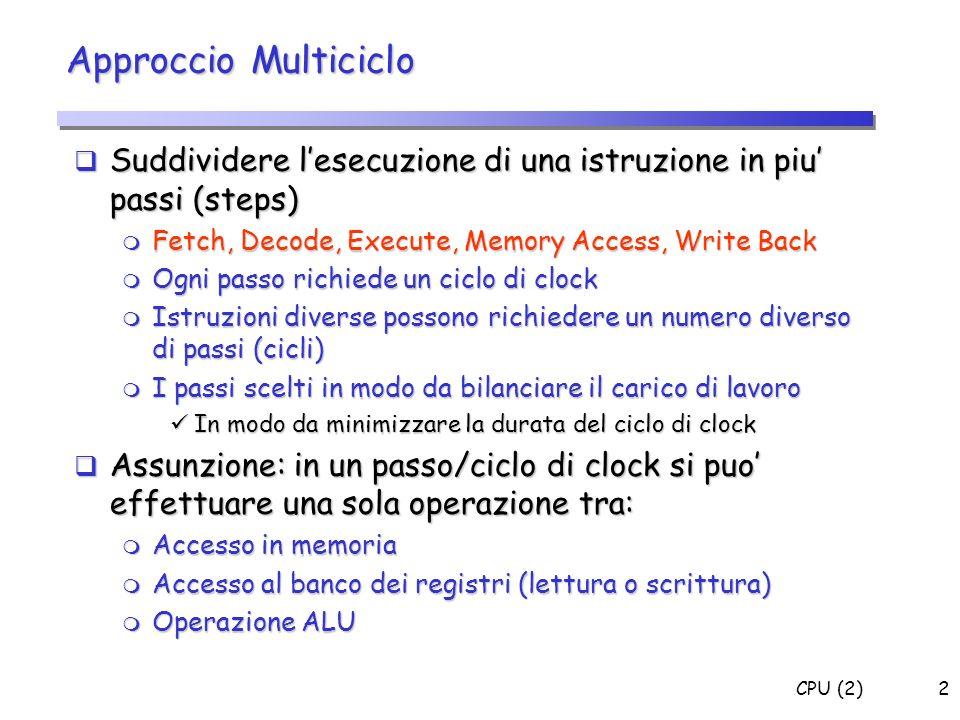 CPU (2)2 Suddividere lesecuzione di una istruzione in piu passi (steps) Suddividere lesecuzione di una istruzione in piu passi (steps) m Fetch, Decode