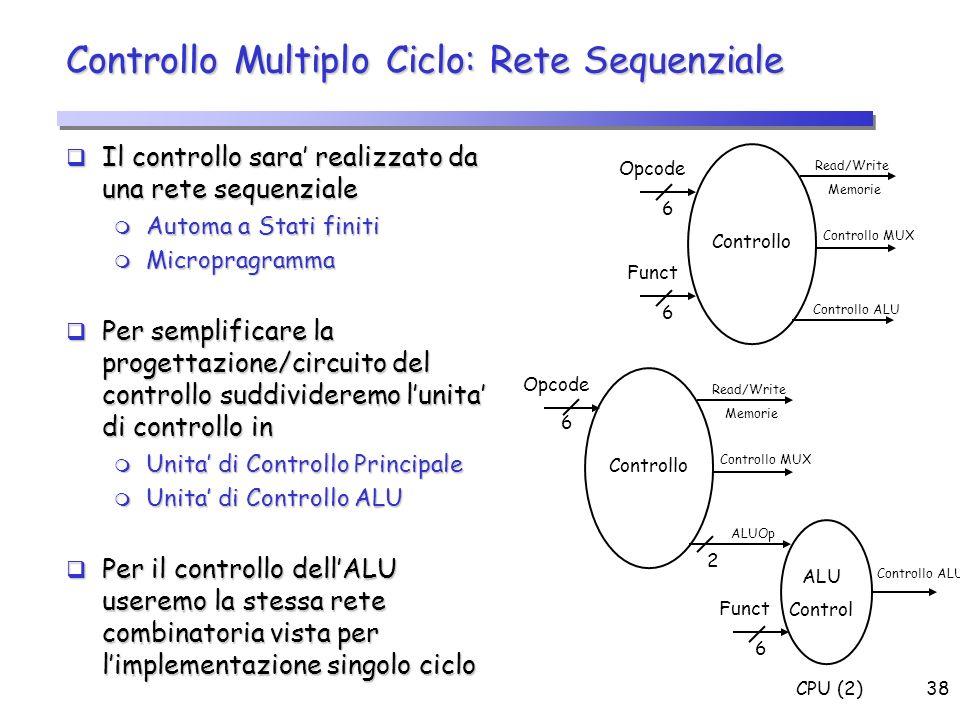 CPU (2)38 Controllo Multiplo Ciclo: Rete Sequenziale Il controllo sara realizzato da una rete sequenziale m Automa a Stati finiti m Micropragramma Per