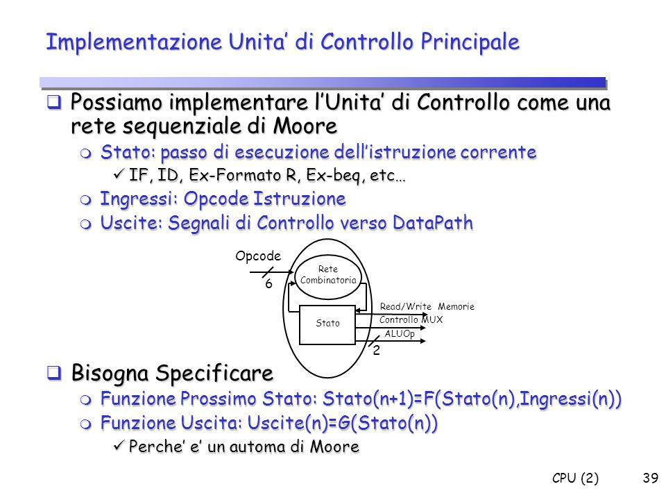 CPU (2)39 Implementazione Unita di Controllo Principale Possiamo implementare lUnita di Controllo come una rete sequenziale di Moore Possiamo implemen