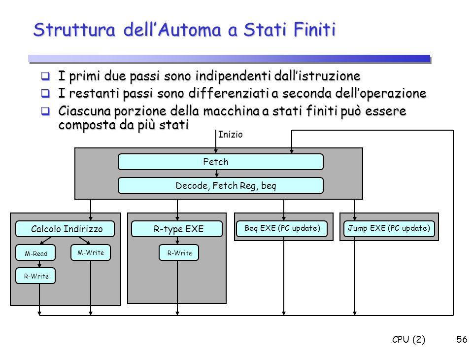 CPU (2)56 Struttura dellAutoma a Stati Finiti I primi due passi sono indipendenti dallistruzione I primi due passi sono indipendenti dallistruzione I