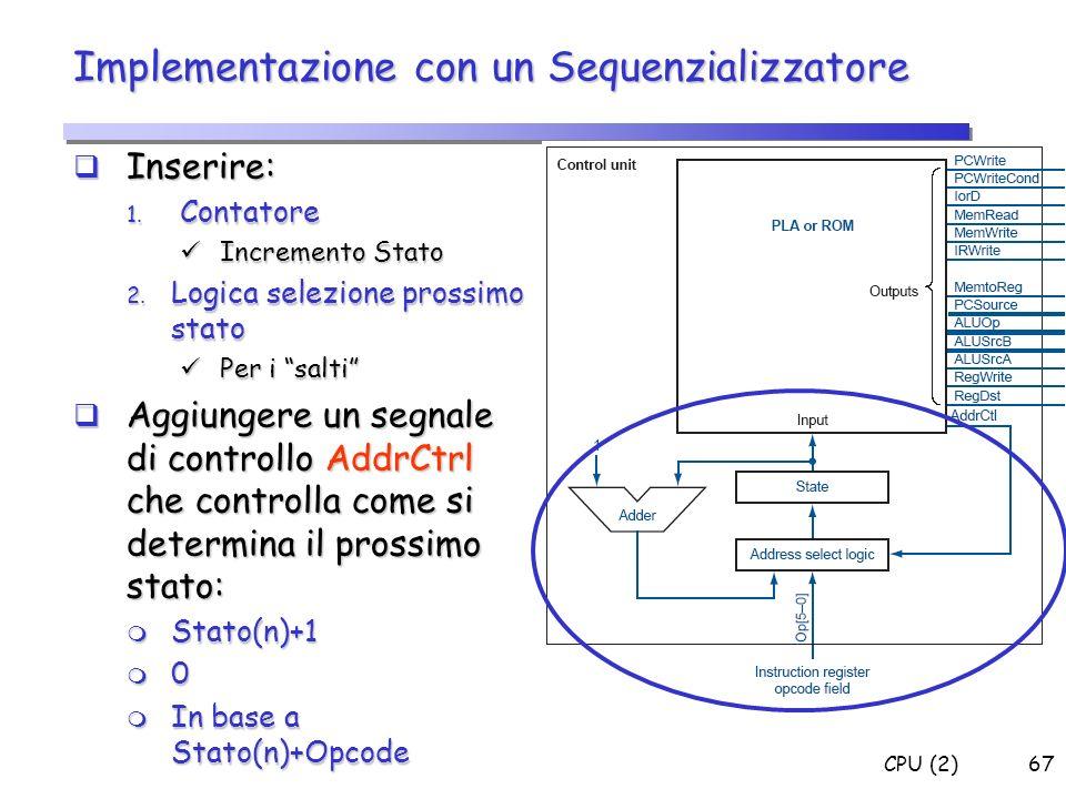 CPU (2)67 Implementazione con un Sequenzializzatore Inserire: Inserire: 1. Contatore Incremento Stato Incremento Stato 2. Logica selezione prossimo st