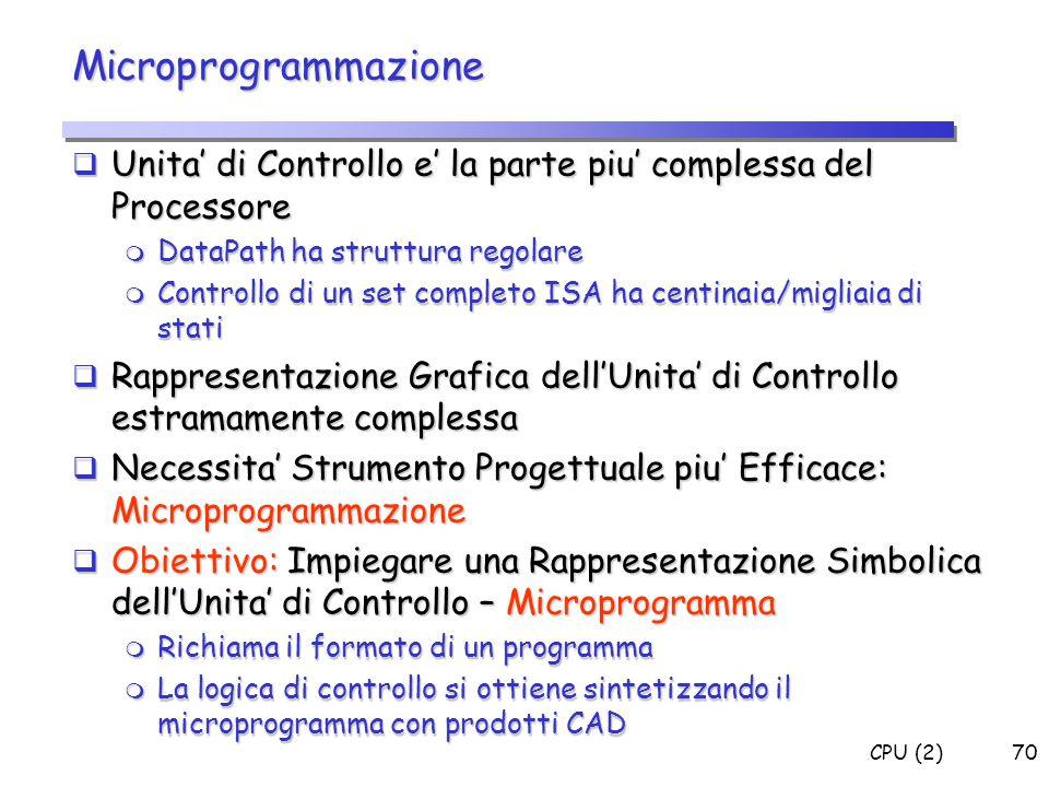 CPU (2)70 Microprogrammazione Unita di Controllo e la parte piu complessa del Processore Unita di Controllo e la parte piu complessa del Processore m