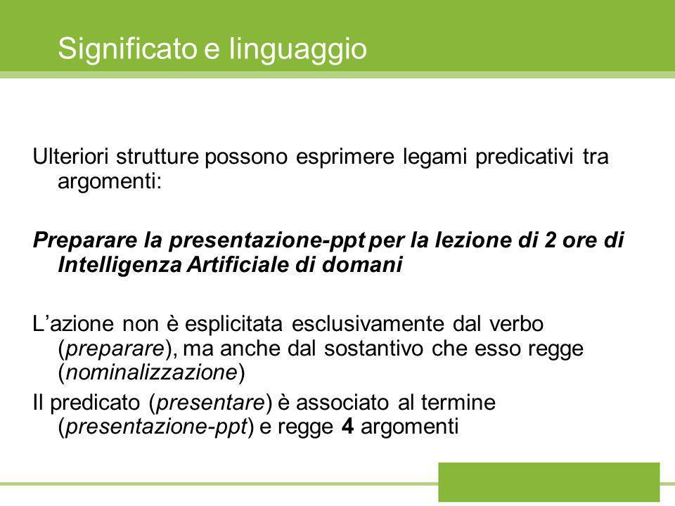 Significato e linguaggio Ulteriori strutture possono esprimere legami predicativi tra argomenti: Preparare la presentazione-ppt per la lezione di 2 or