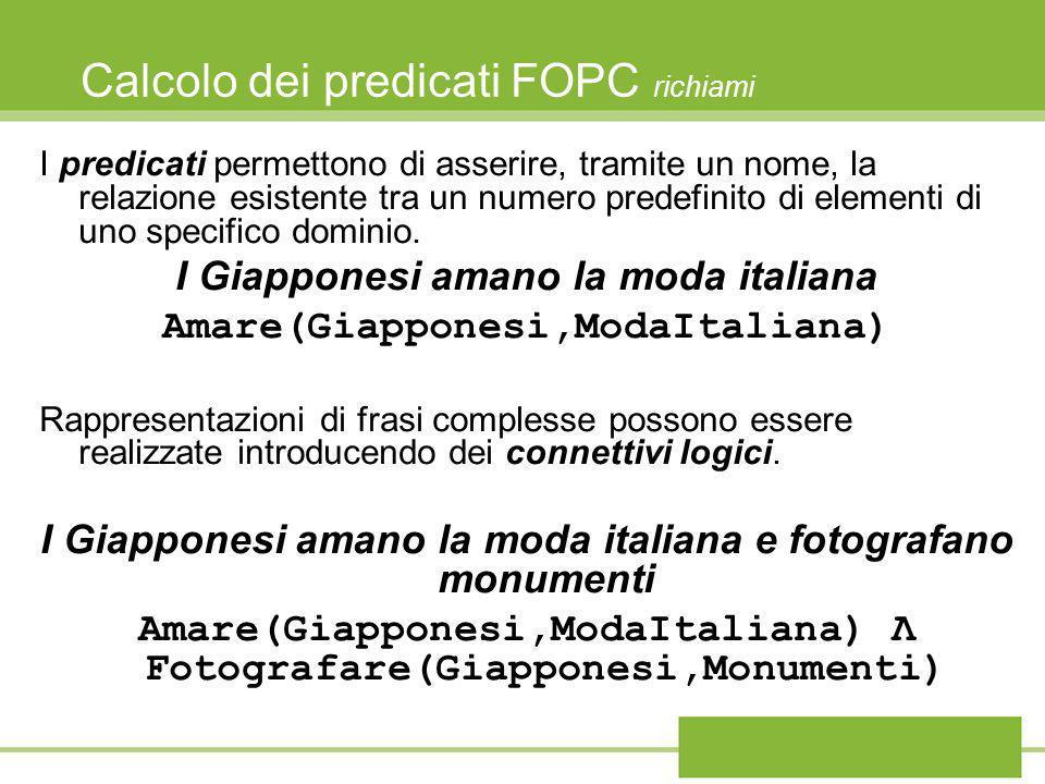 Calcolo dei predicati FOPC richiami I predicati permettono di asserire, tramite un nome, la relazione esistente tra un numero predefinito di elementi