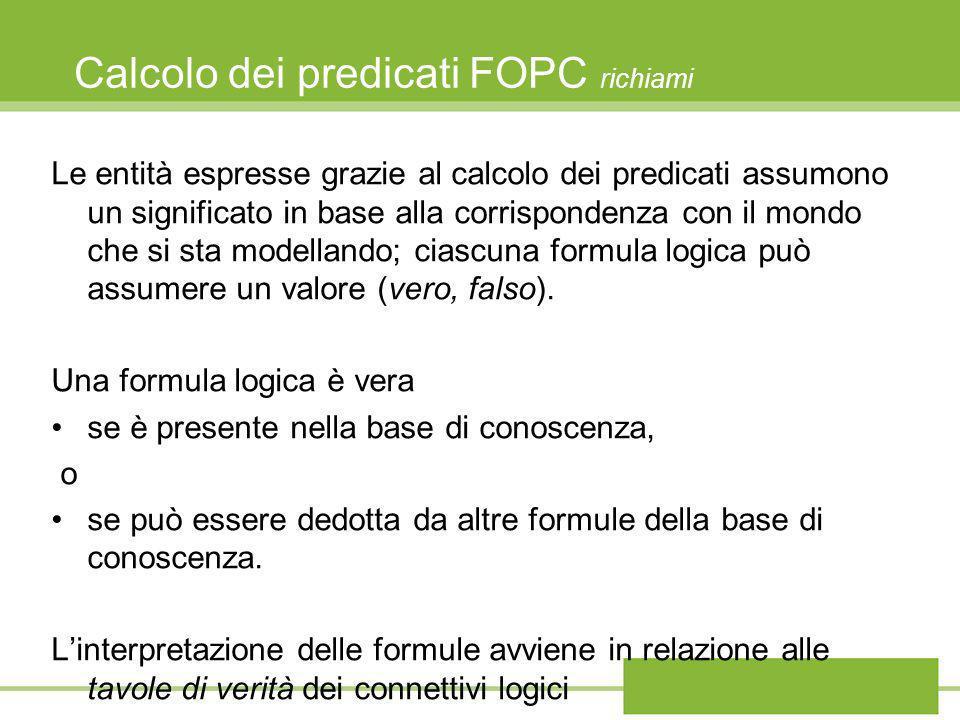 Calcolo dei predicati FOPC richiami Le entità espresse grazie al calcolo dei predicati assumono un significato in base alla corrispondenza con il mond