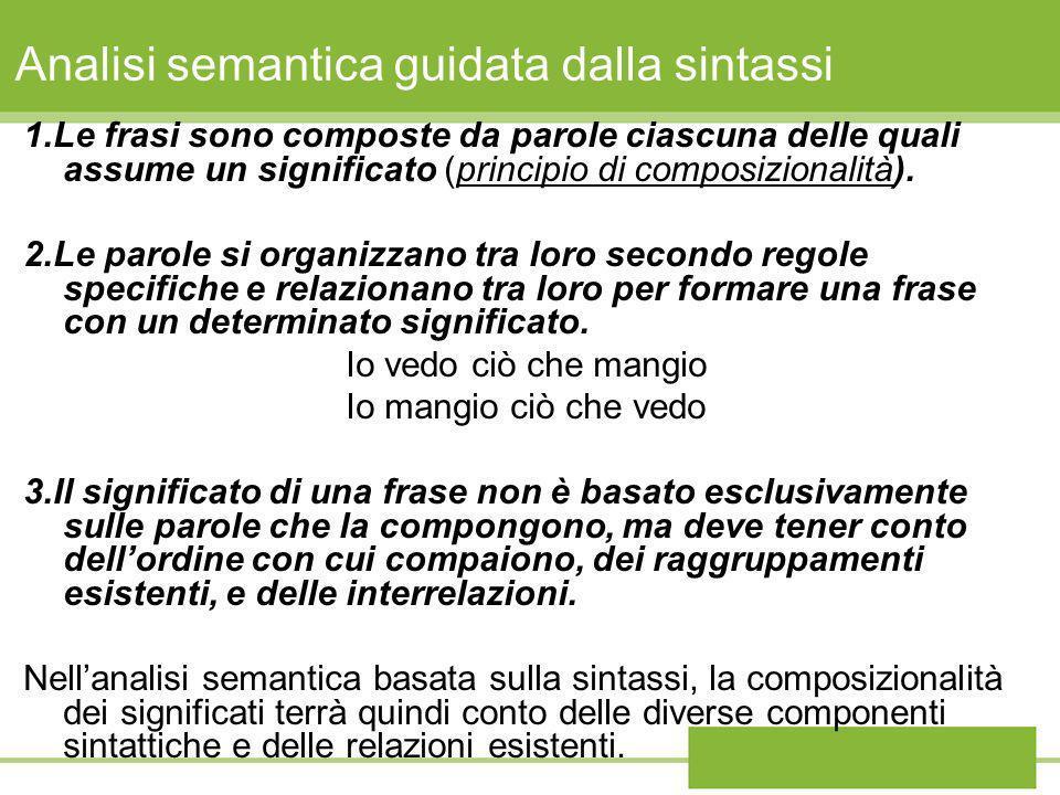 Analisi semantica guidata dalla sintassi 1.Le frasi sono composte da parole ciascuna delle quali assume un significato (principio di composizionalità)