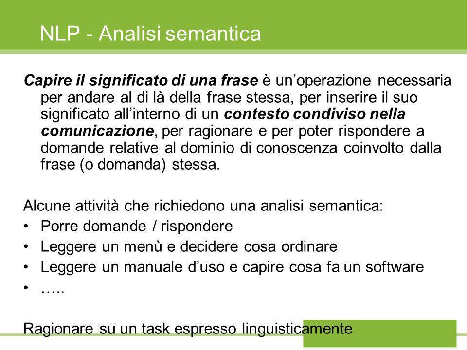 NLP - Analisi semantica Capire il significato di una frase Ragionare su un task espresso linguisticamente richiede lattivazione di processi cognitivi che accedano a qualche tipo di rappresentazione che colleghi gli elementi linguistici, coinvolti nel processo di comprensione, a componenti cognitive (quindi non linguistiche) necessarie alla loro realizzazione.