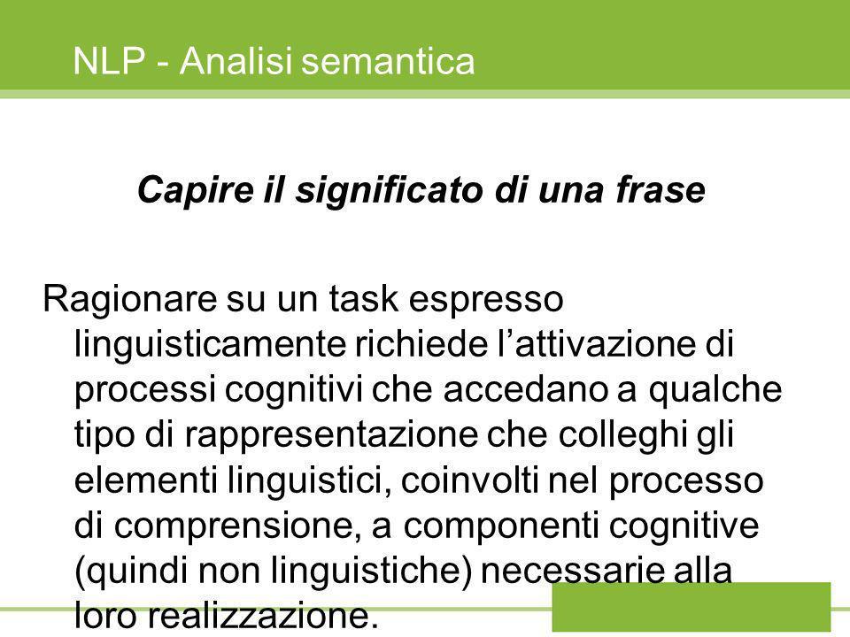NLP - Analisi semantica Lanalisi semantica è fondamentale in questa fase a supporto del ragionamento e si basa sulla rappresentazione formale del significato della frase.