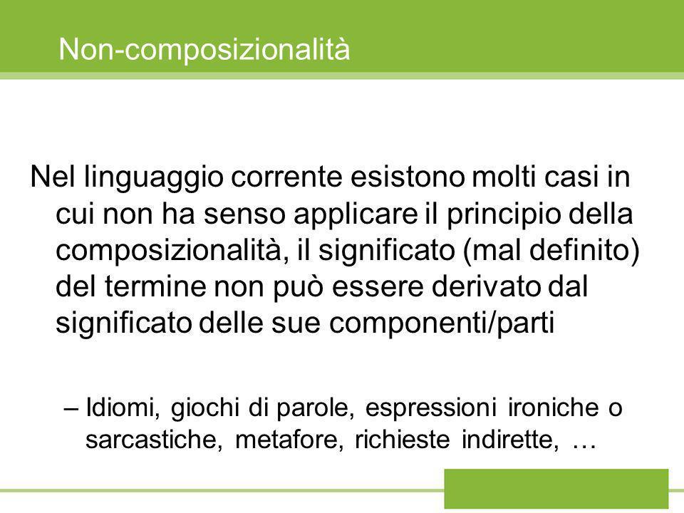 Non-composizionalità Nel linguaggio corrente esistono molti casi in cui non ha senso applicare il principio della composizionalità, il significato (ma