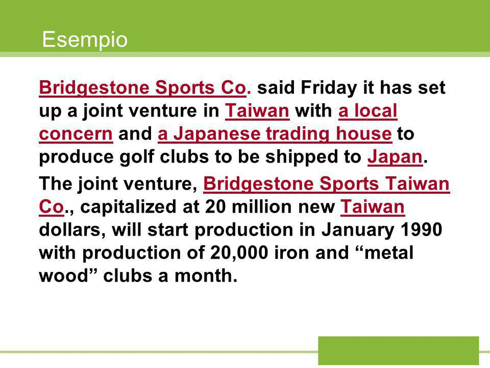 Esempio Bridgestone Sports Co.