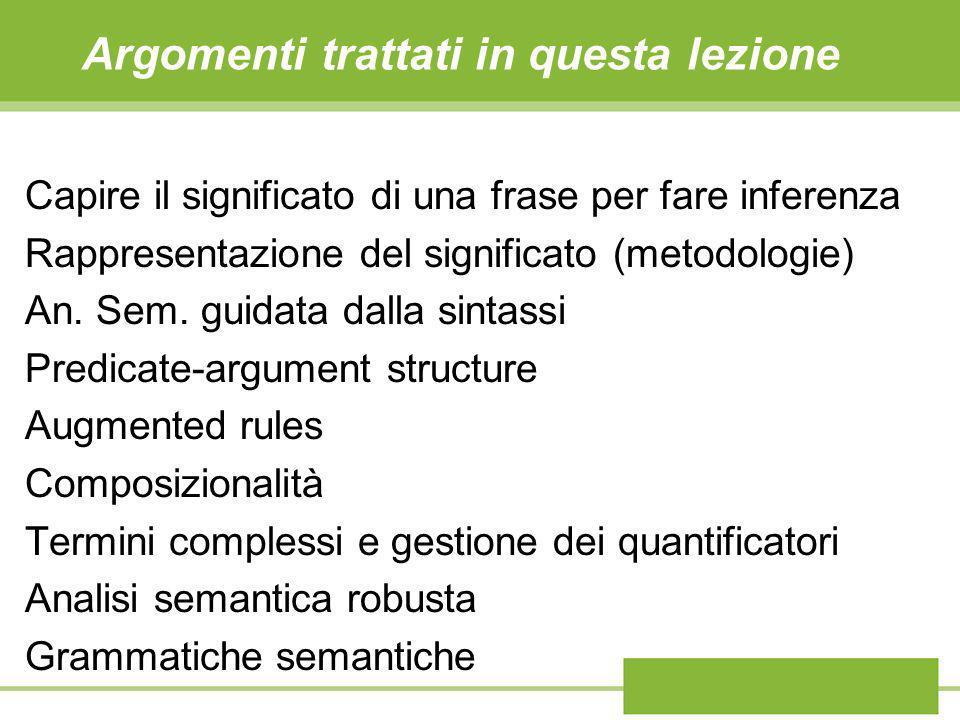 Argomenti trattati in questa lezione Capire il significato di una frase per fare inferenza Rappresentazione del significato (metodologie) An. Sem. gui