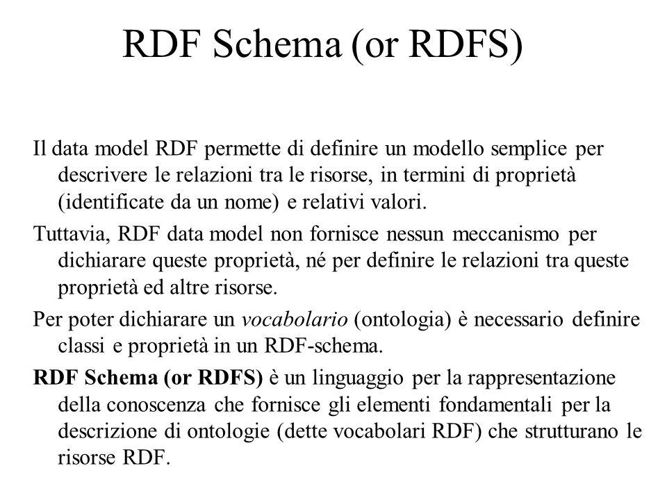 RDF Schema (or RDFS) Il data model RDF permette di definire un modello semplice per descrivere le relazioni tra le risorse, in termini di proprietà (identificate da un nome) e relativi valori.