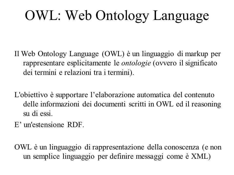 OWL: Web Ontology Language Il Web Ontology Language (OWL) è un linguaggio di markup per rappresentare esplicitamente le ontologie (ovvero il significato dei termini e relazioni tra i termini).