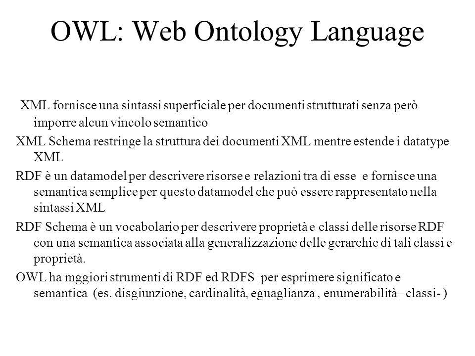 OWL: Web Ontology Language XML fornisce una sintassi superficiale per documenti strutturati senza però imporre alcun vincolo semantico XML Schema restringe la struttura dei documenti XML mentre estende i datatype XML RDF è un datamodel per descrivere risorse e relazioni tra di esse e fornisce una semantica semplice per questo datamodel che può essere rappresentato nella sintassi XML RDF Schema è un vocabolario per descrivere proprietà e classi delle risorse RDF con una semantica associata alla generalizzazione delle gerarchie di tali classi e proprietà.