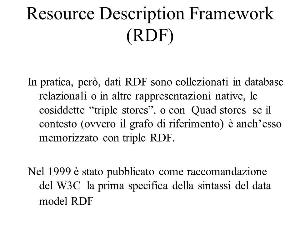 Resource Description Framework (RDF) In pratica, però, dati RDF sono collezionati in database relazionali o in altre rappresentazioni native, le cosiddette triple stores, o con Quad stores se il contesto (ovvero il grafo di riferimento) è anchesso memorizzato con triple RDF.