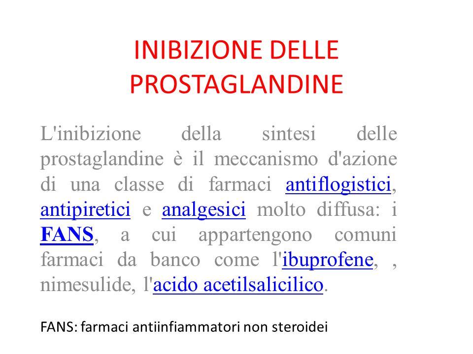 INIBIZIONE DELLE PROSTAGLANDINE L'inibizione della sintesi delle prostaglandine è il meccanismo d'azione di una classe di farmaci antiflogistici, anti