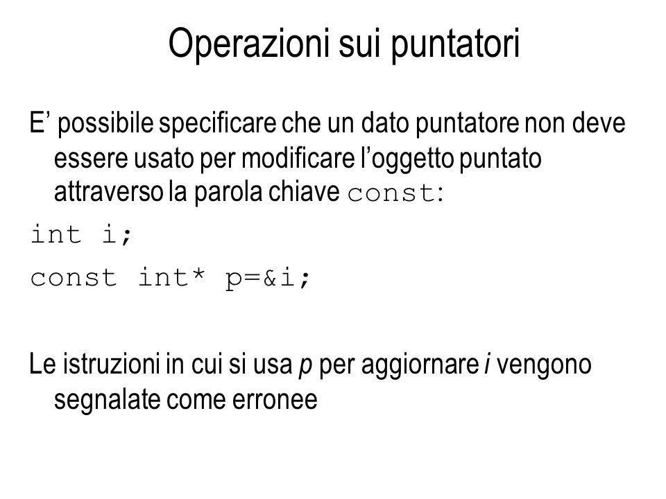 Operazioni sui puntatori E possibile specificare che un dato puntatore non deve essere usato per modificare loggetto puntato attraverso la parola chiave const : int i; const int* p=&i; Le istruzioni in cui si usa p per aggiornare i vengono segnalate come erronee
