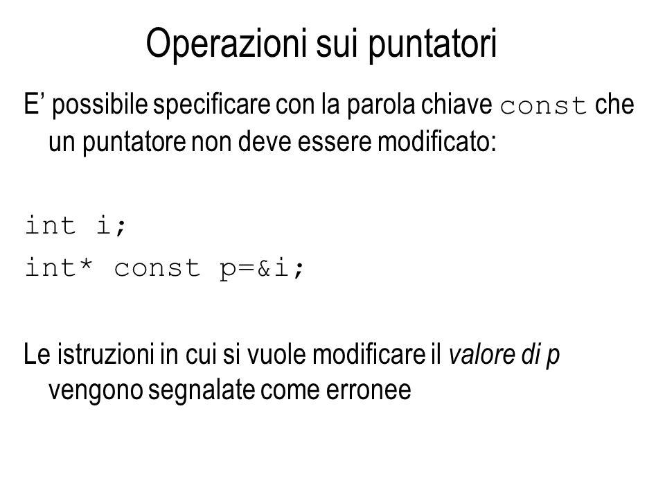 Operazioni sui puntatori E possibile specificare con la parola chiave const che un puntatore non deve essere modificato: int i; int* const p=&i; Le istruzioni in cui si vuole modificare il valore di p vengono segnalate come erronee
