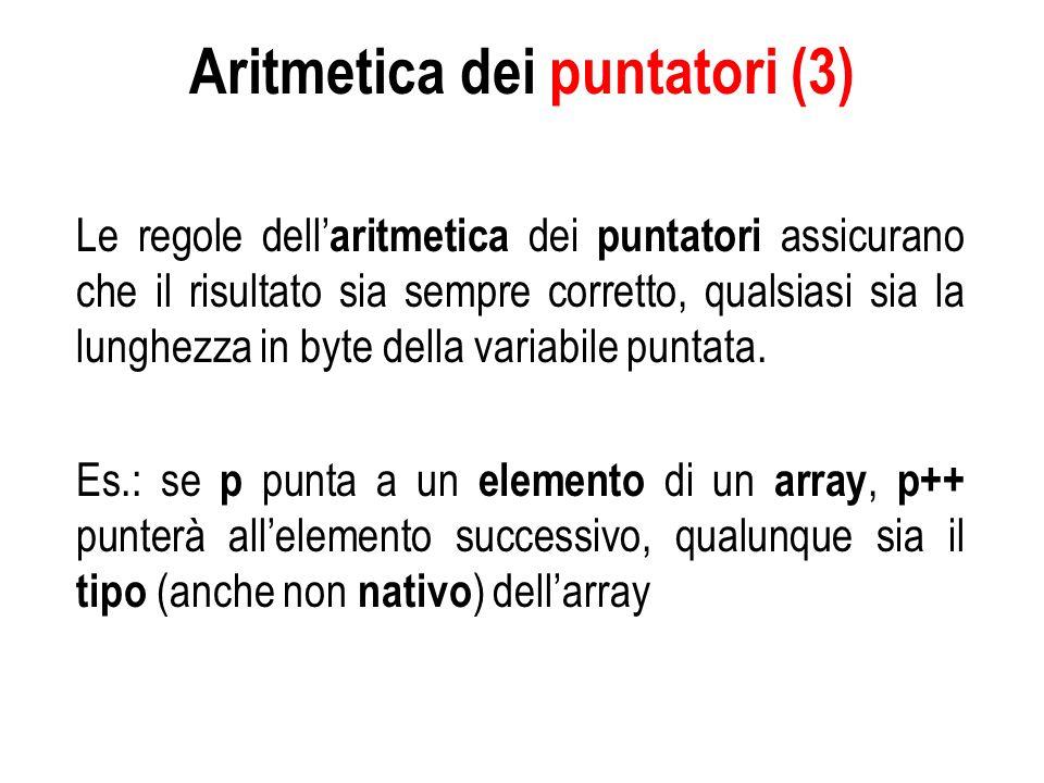 Aritmetica dei puntatori (3) Le regole dell aritmetica dei puntatori assicurano che il risultato sia sempre corretto, qualsiasi sia la lunghezza in byte della variabile puntata.