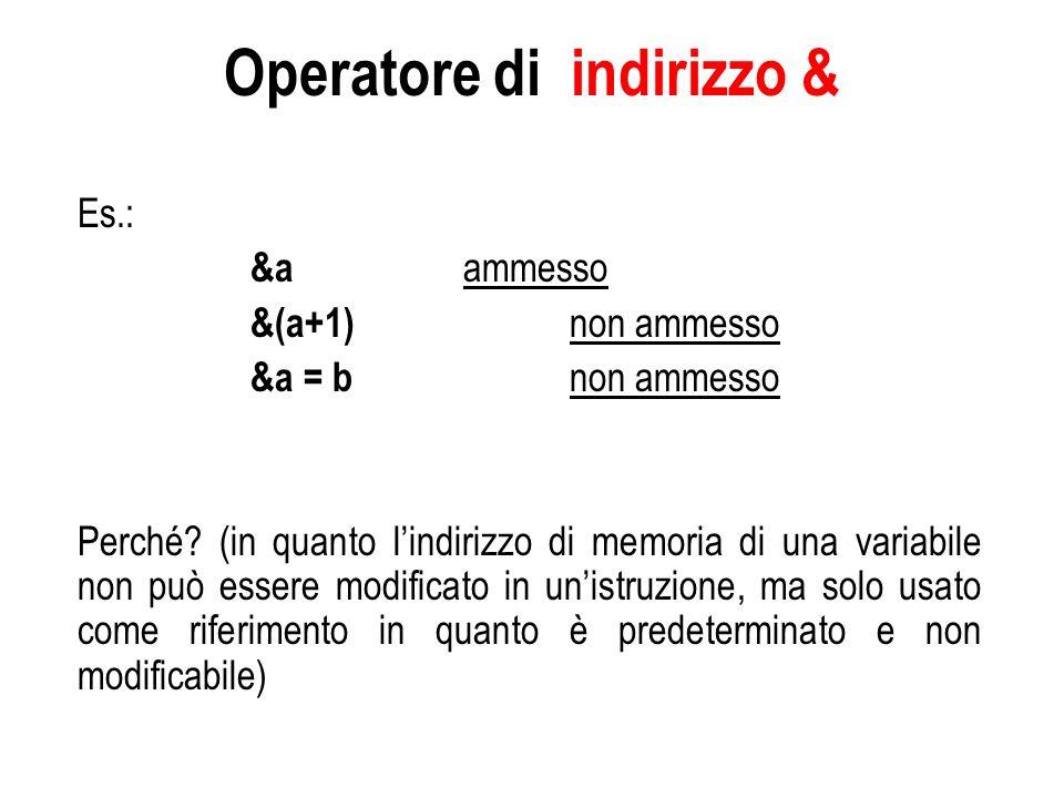 Loperatore di dereferenziazione * L operatore unario di dereferenziazione * di un puntatore restituisce il valore della variabile puntata dall operando : come r-value, esegue unoperazione di estrazione Es.: a = * p; assegna ad a il valore della variabile puntata da p come l-value, esegue unoperazione di inserimento Es.: * p = a; assegna il valore di a alla variabile puntata da p