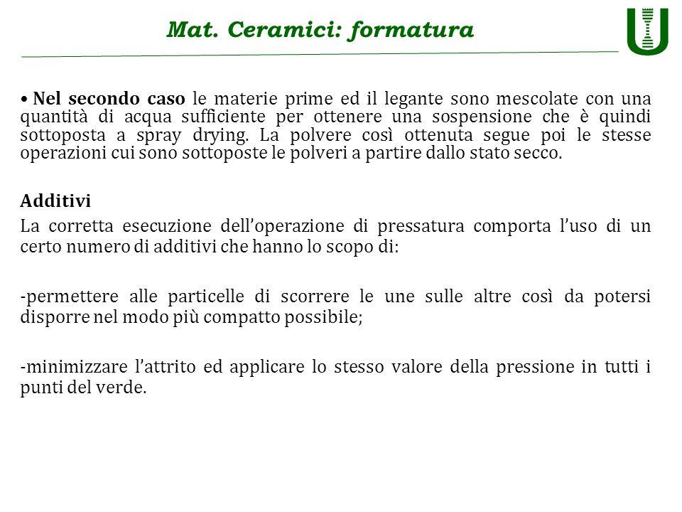 Mat. Ceramici: formatura Nel secondo caso le materie prime ed il legante sono mescolate con una quantità di acqua sufficiente per ottenere una sospens