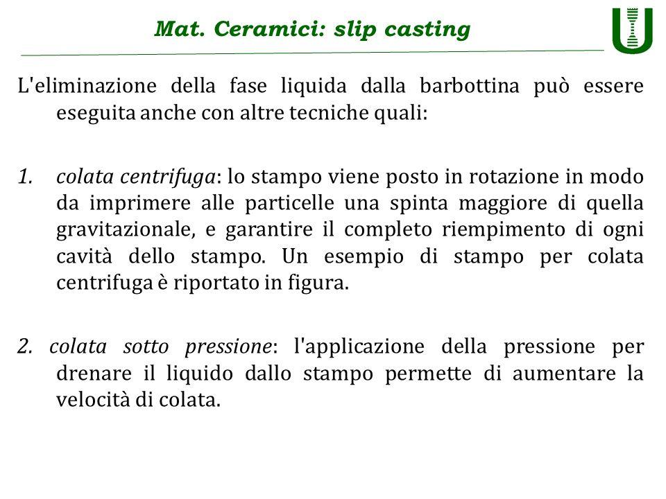 Mat. Ceramici: slip casting L'eliminazione della fase liquida dalla barbottina può essere eseguita anche con altre tecniche quali: 1.colata centrifuga