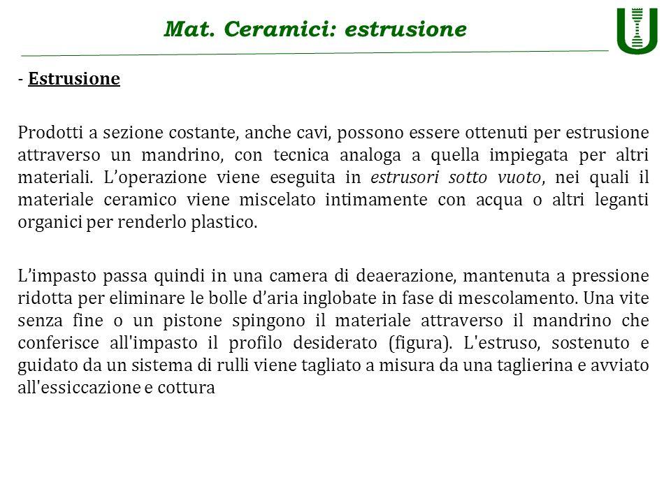 Mat. Ceramici: estrusione - Estrusione Prodotti a sezione costante, anche cavi, possono essere ottenuti per estrusione attraverso un mandrino, con tec