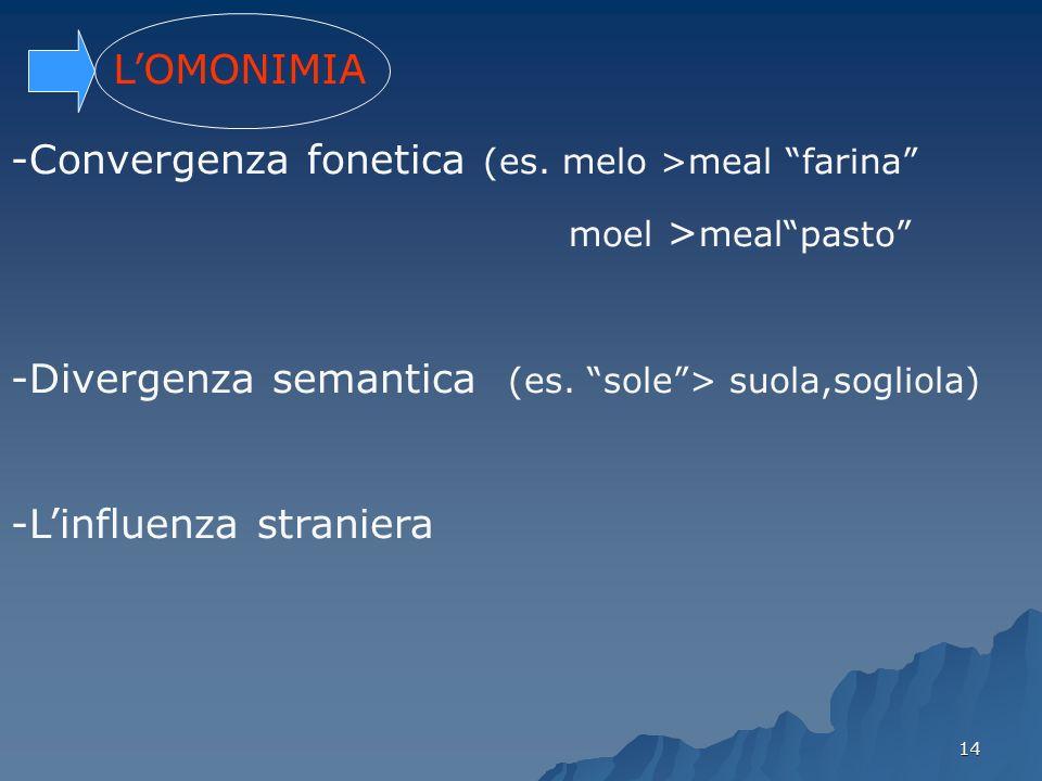 14 LOMONIMIA -Convergenza fonetica (es. melo >meal farina moel > mealpasto -Divergenza semantica (es. sole> suola,sogliola) -Linfluenza straniera
