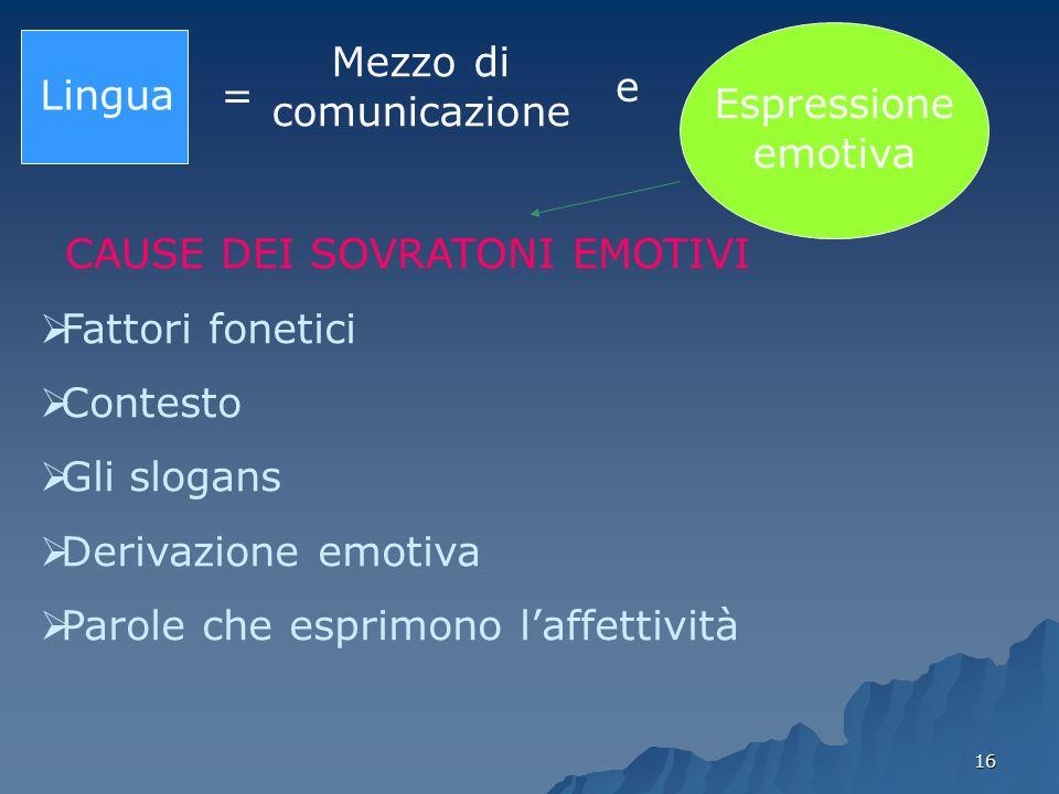 16 Lingua = Mezzo di comunicazione e Espressione emotiva CAUSE DEI SOVRATONI EMOTIVI Fattori fonetici Contesto Gli slogans Derivazione emotiva Parole