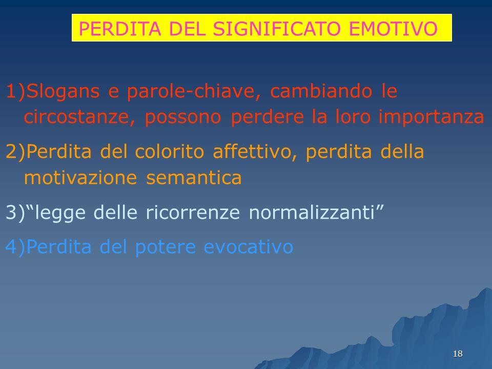 18 PERDITA DEL SIGNIFICATO EMOTIVO 1)Slogans e parole-chiave, cambiando le circostanze, possono perdere la loro importanza 2)Perdita del colorito affe